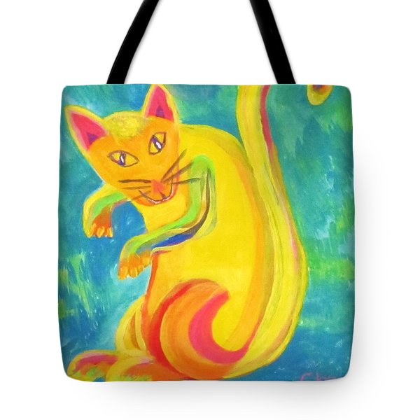 Curious Kitty Tote Bag by Cathy Long