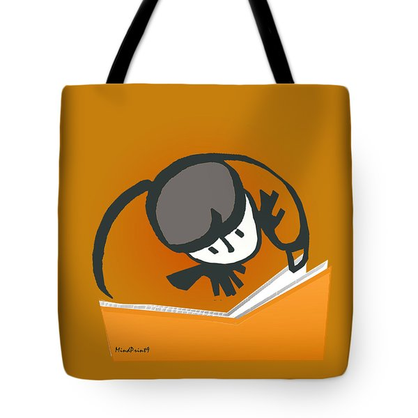 Tote Bag featuring the digital art Curious Reader by Asok Mukhopadhyay