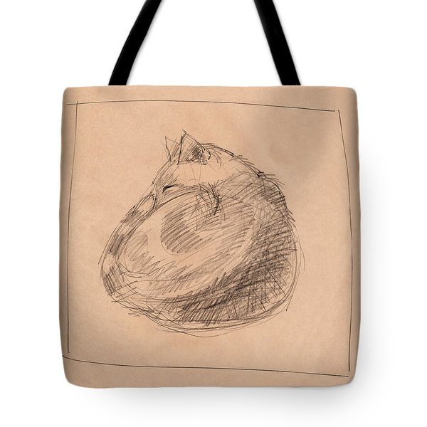 Tote Bag featuring the drawing Curled Up by Judith Kunzle