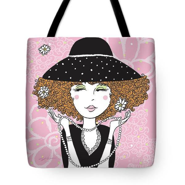 Curly Girl In Polka Dots Tote Bag