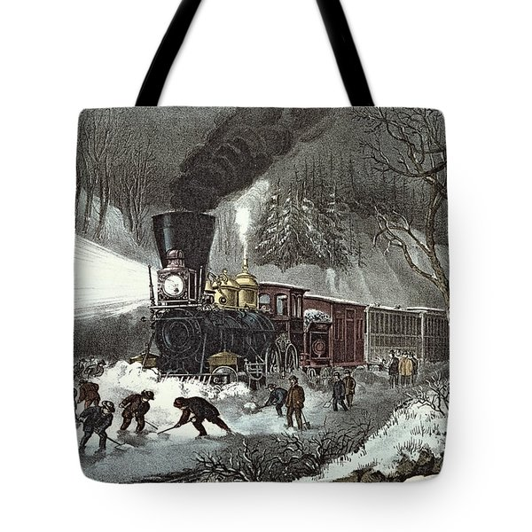 Currier And Ives Tote Bag by American Railroad Scene