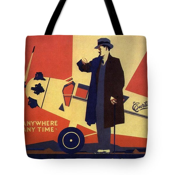 Curtiss Flying Service - Art Deco Poster - Vintage Advertising Poster  Tote Bag