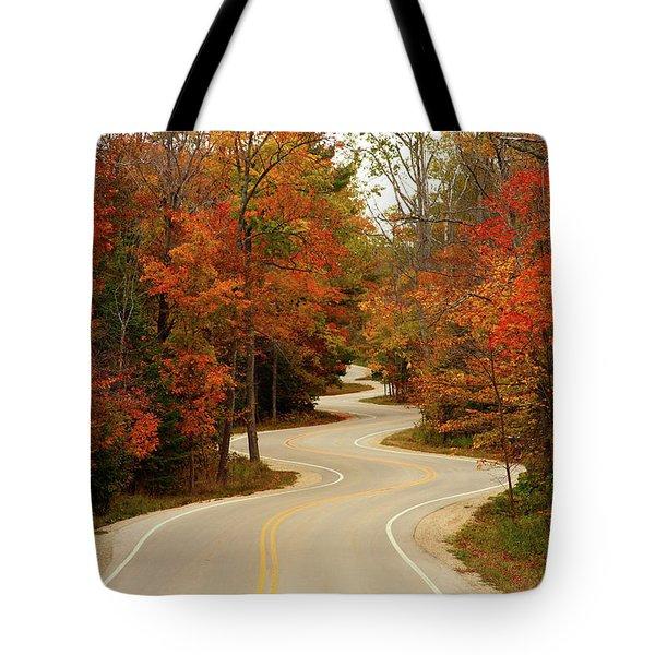 Curvy Fall Tote Bag by Adam Romanowicz