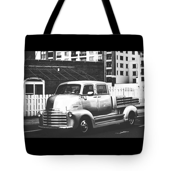 Tote Bag featuring the photograph Custom Chevy Asbury Park Nj Black And White by Terry DeLuco