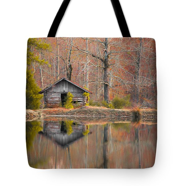 Custom Crop - Cabin By The Lake Tote Bag by Shelby  Young