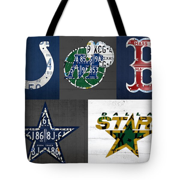 Custom Sports Team License Plate Art Combo Print No 001 Tote Bag