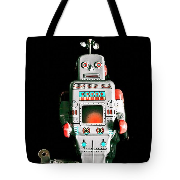 Cute 1970s Robot On Black Background Tote Bag