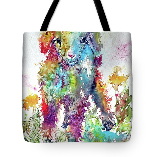Cute Baby Goat In Grass Tote Bag