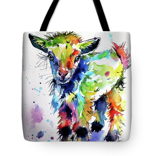 Cute Baby Goat Tote Bag by Kovacs Anna Brigitta