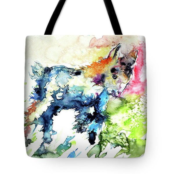 Cute Baby Goat Playing Tote Bag