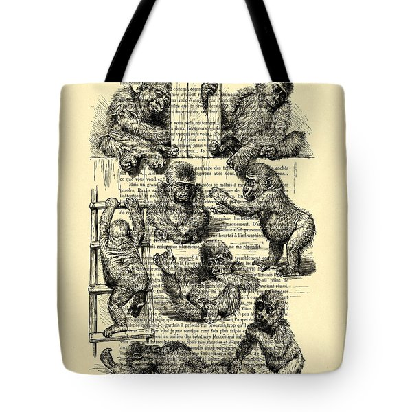 Baby Monkeys Playing Black And White Antique Illustration Tote Bag