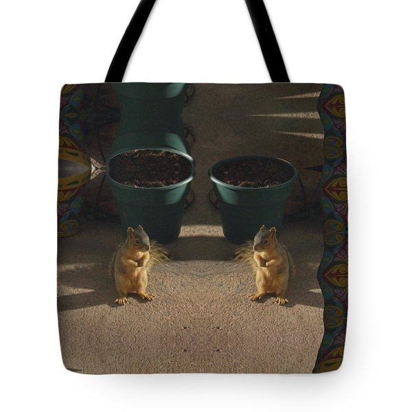 Cute Baby Squirrels On The Porch Tote Bag