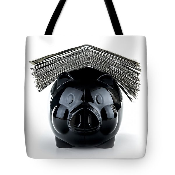 Cute Black Piggybank Tote Bag