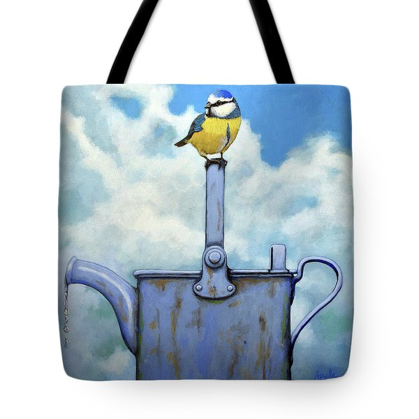 Tote Bag featuring the painting Cute Blue-tit Realistic Bird Portrait On Antique Watering Can by Linda Apple