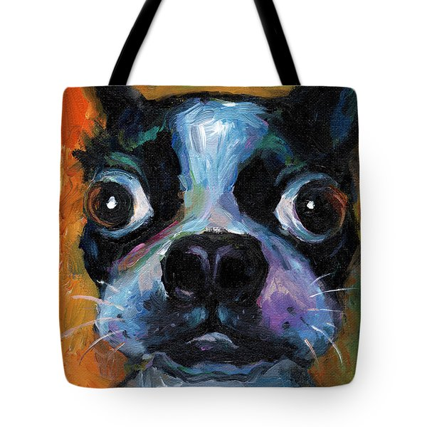 Cute Boston Terrier Puppy Art Tote Bag