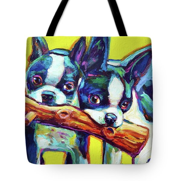 Tote Bag featuring the painting Cute Boston Terriers by Robert Phelps