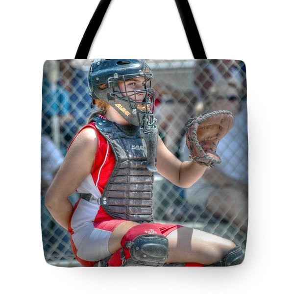 Cute Catcher In Red And White. Tote Bag
