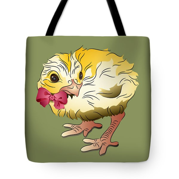 Tote Bag featuring the digital art Cute Chick by MM Anderson