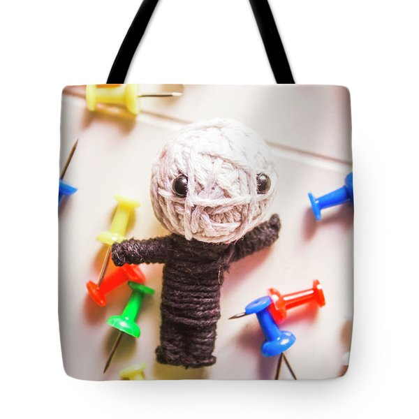 Cute Doll Made From Yarn Surrounded By Pins Tote Bag