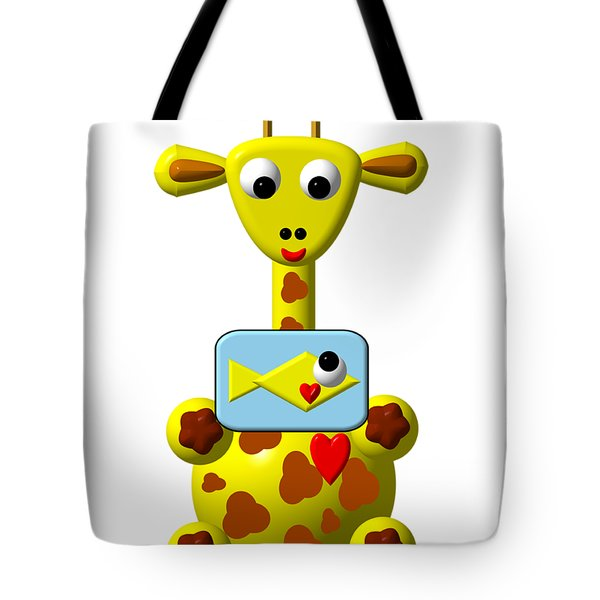Cute Giraffe With Goldfish Tote Bag