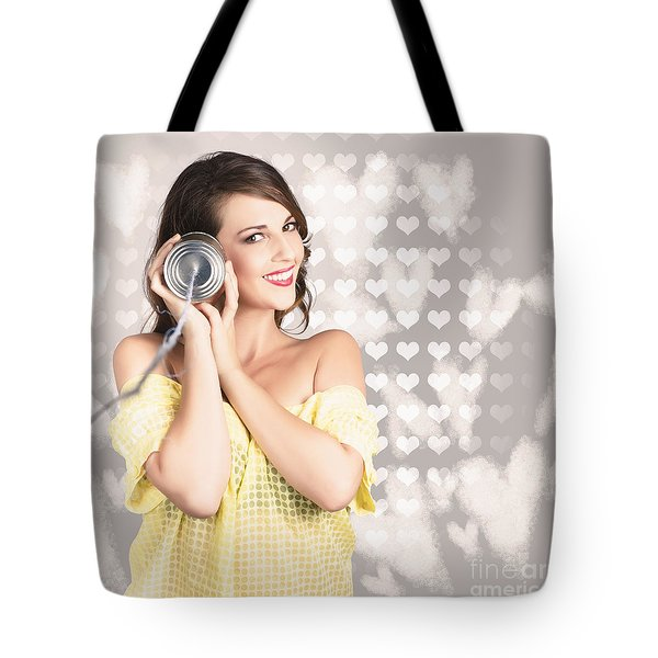 Cute Girlfriend Receiving Message Of Love Tote Bag