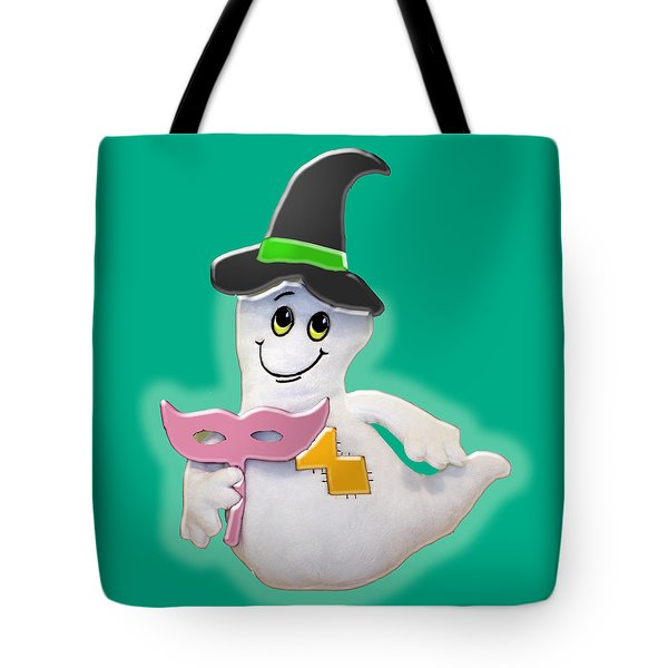 Cute Glowing Ghost Tote Bag by Karen Nicholson