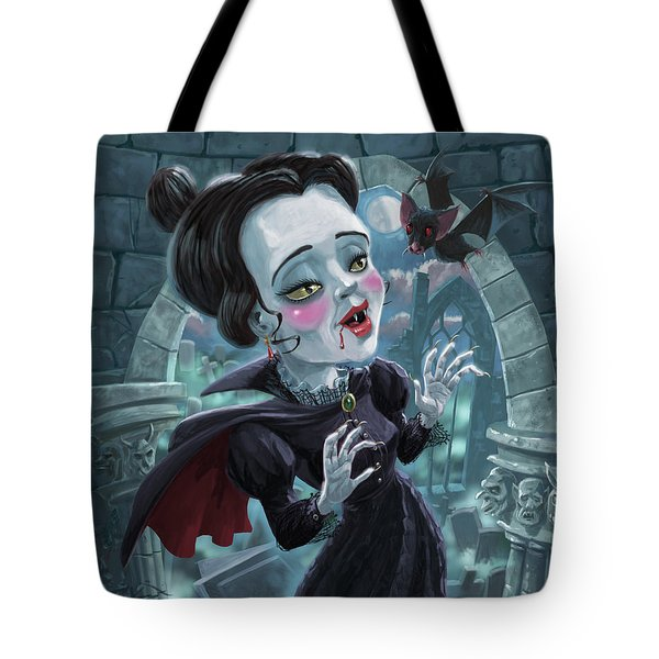Tote Bag featuring the digital art Cute Gothic Horror Vampire Woman by Martin Davey