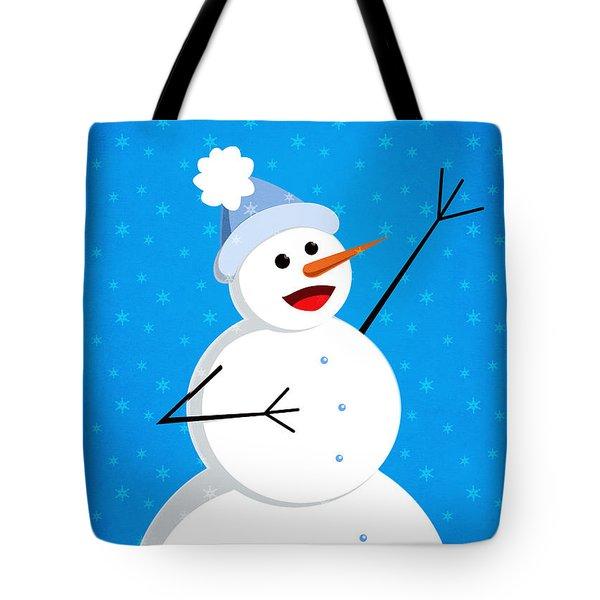 Cute Happy Snowman Tote Bag