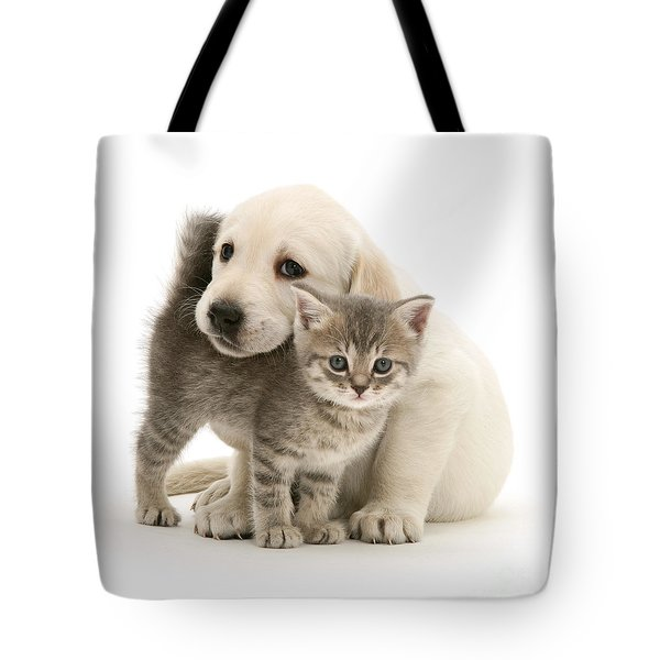 Cute Kitten And Perfect Puppy Tote Bag