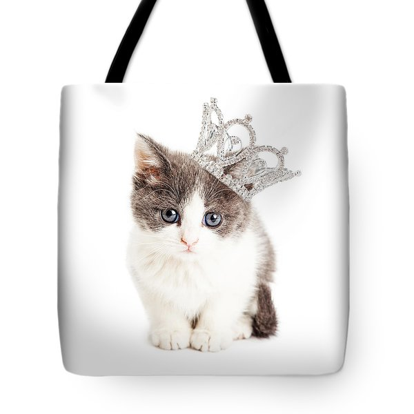 Cute Kitten Wearing Princess Crown Tote Bag
