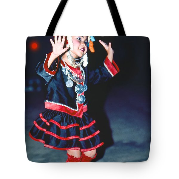 Tote Bag featuring the photograph Cute Little Thai Girl Dancing by Heiko Koehrer-Wagner