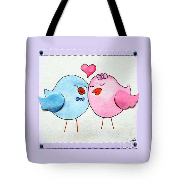 Cute Lovebirds Watercolour Tote Bag