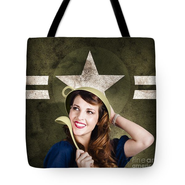 Cute Military Pin-up Woman On Army Star Background Tote Bag