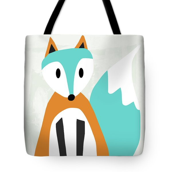 Cute Orange And Blue Fox- Art By Linda Woods Tote Bag