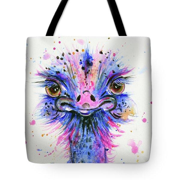 Cute Ostrich Tote Bag by Zaira Dzhaubaeva
