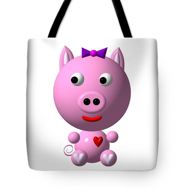 Cute Pink Pig With Purple Bow Tote Bag