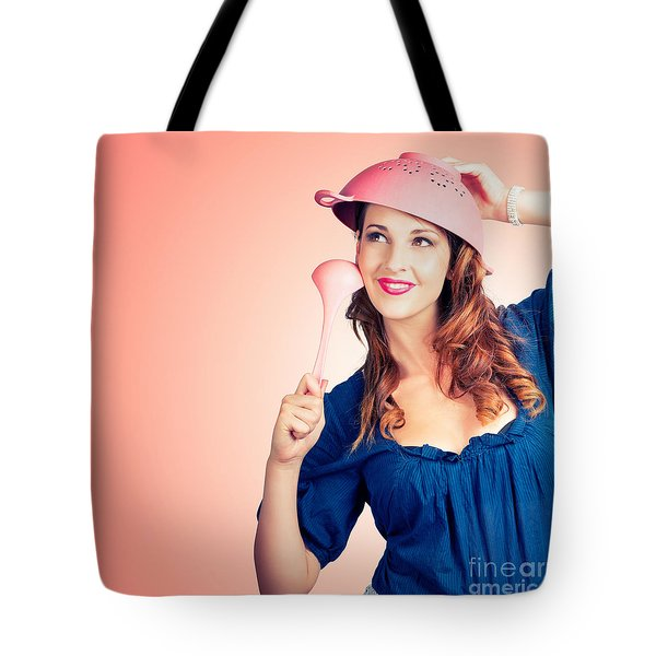 Tote Bag featuring the photograph Cute Pinup Cook Thinking Up Colander Cooking Idea by Jorgo Photography - Wall Art Gallery