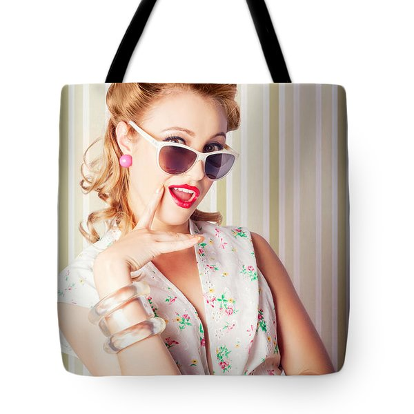 Cute Pinup Fashion Girl With Surprised Expression Tote Bag