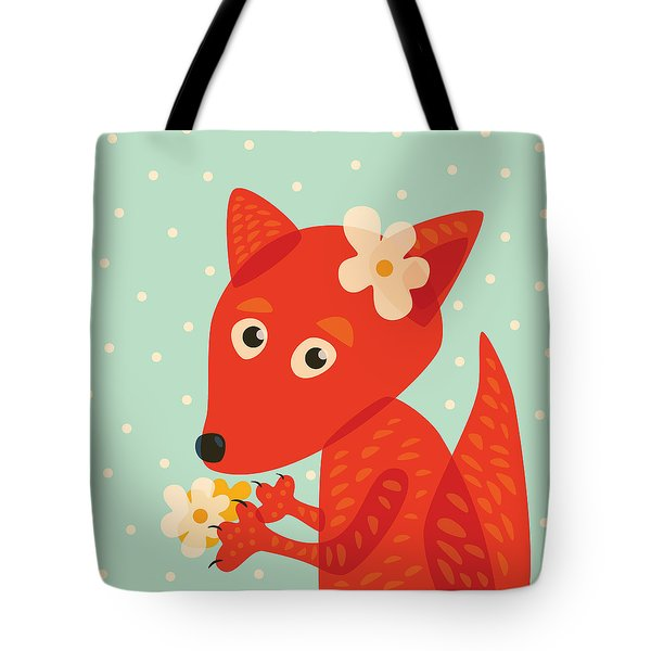 Cute Pretty Fox With Flowers Tote Bag