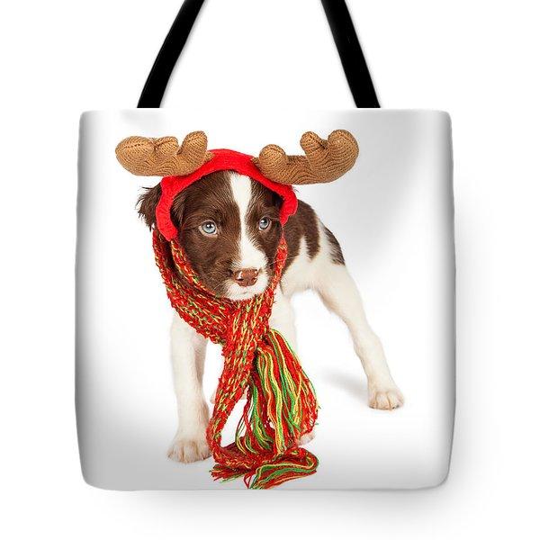 Cute Puppy Christmas Reindeer Tote Bag