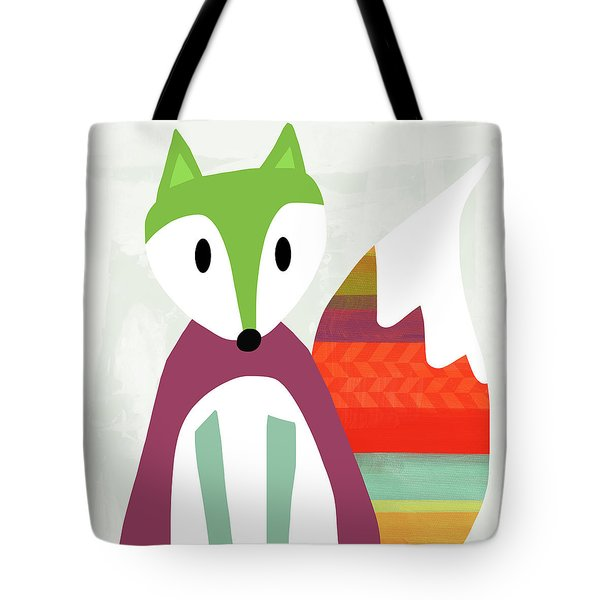 Cute Purple And Green Fox- Art By Linda Woods Tote Bag