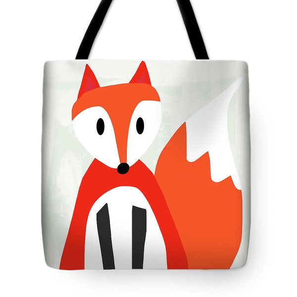 Cute Red And White Fox- Art By Linda Woods Tote Bag