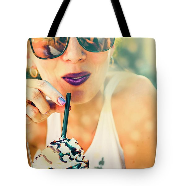 Cute Retro Girl Drinking Milkshake Tote Bag
