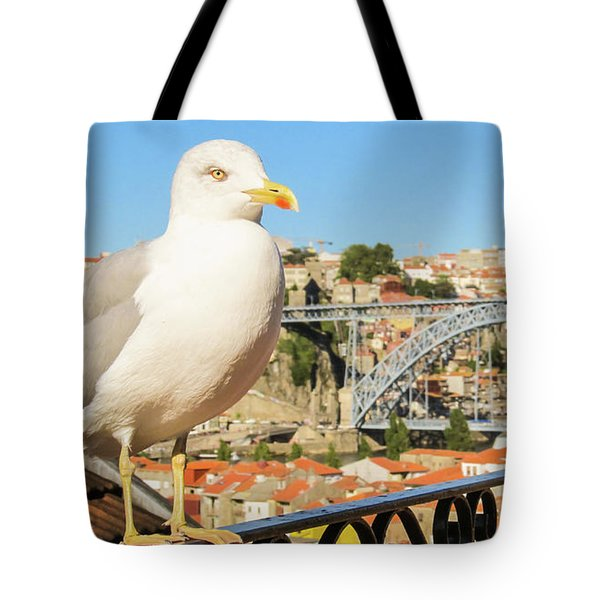 Cute Seagull And Porto's Cityscape Tote Bag