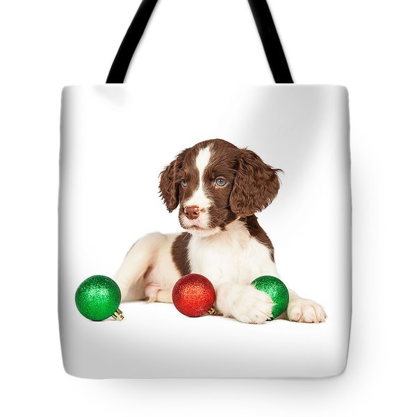 Cute Seven Week Old Puppy With Red And Green Christmas Ornaments Tote Bag