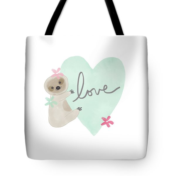 Cute Sloth With Heart- Art By Linda Woods Tote Bag