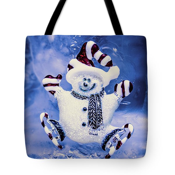Cute Snowman In Ice Skates Tote Bag
