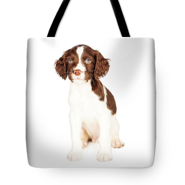 Cute Springer Spaniel Puppy Over White Tote Bag