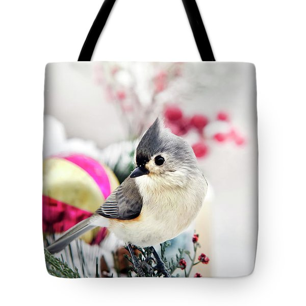 Cute Winter Bird - Tufted Titmouse Tote Bag
