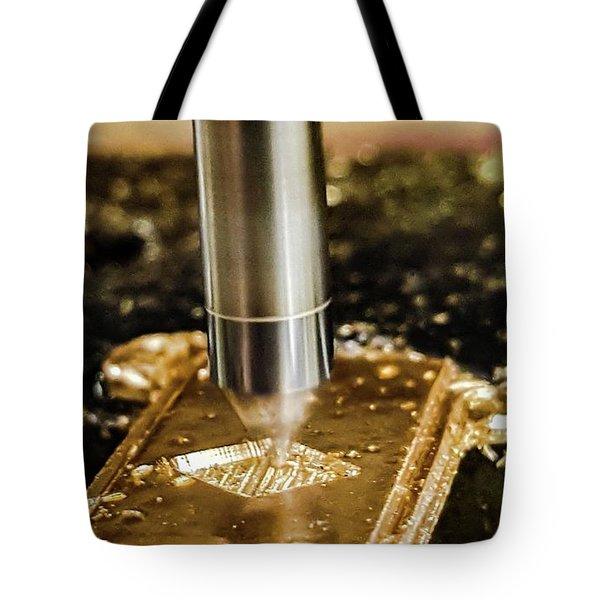Cutting Brass Tote Bag by Bruce Carpenter